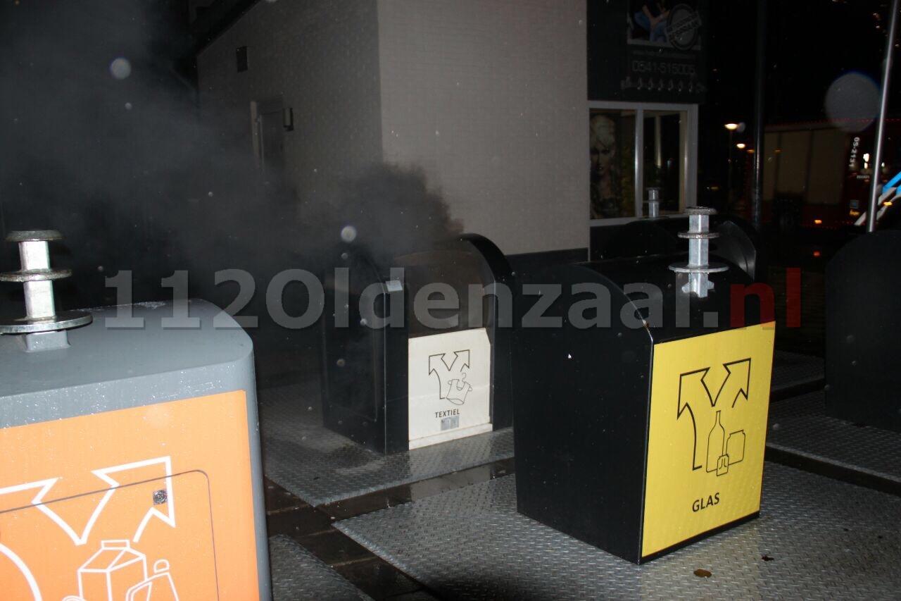 Brandweer blust containerbrand aan de Glindestraat in Oldenzaal