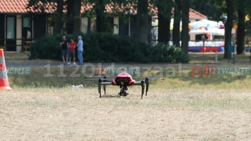 UPDATE (VIDEO): Zoekactie naar mogelijke drenkeling in Oldenzaal, sonarboot en drone ingezet; Het Hulsbeek ontruimd