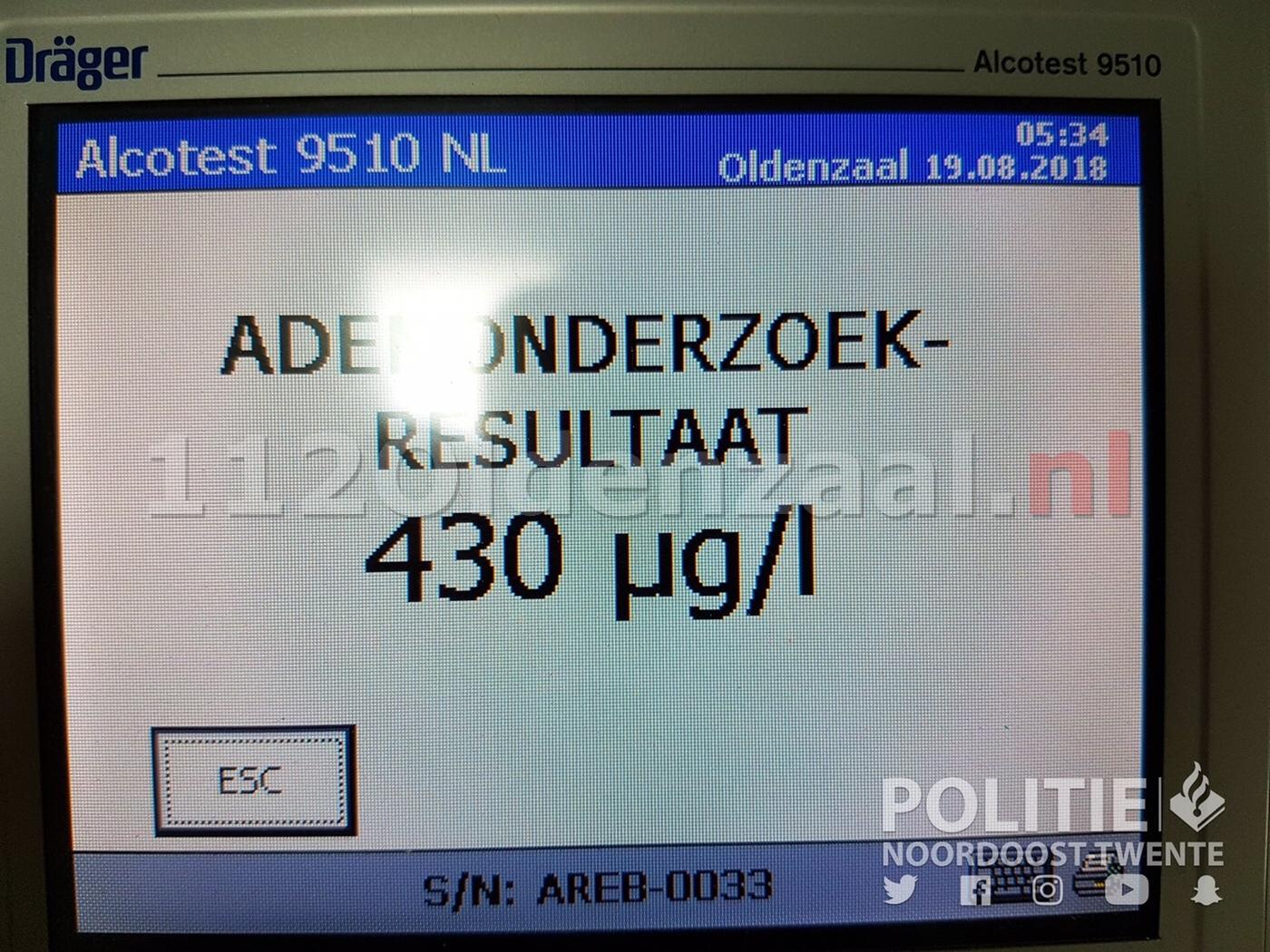 """Bestuurder in Oldenzaal rijdt onder invloed in """"bekend"""" voertuig"""