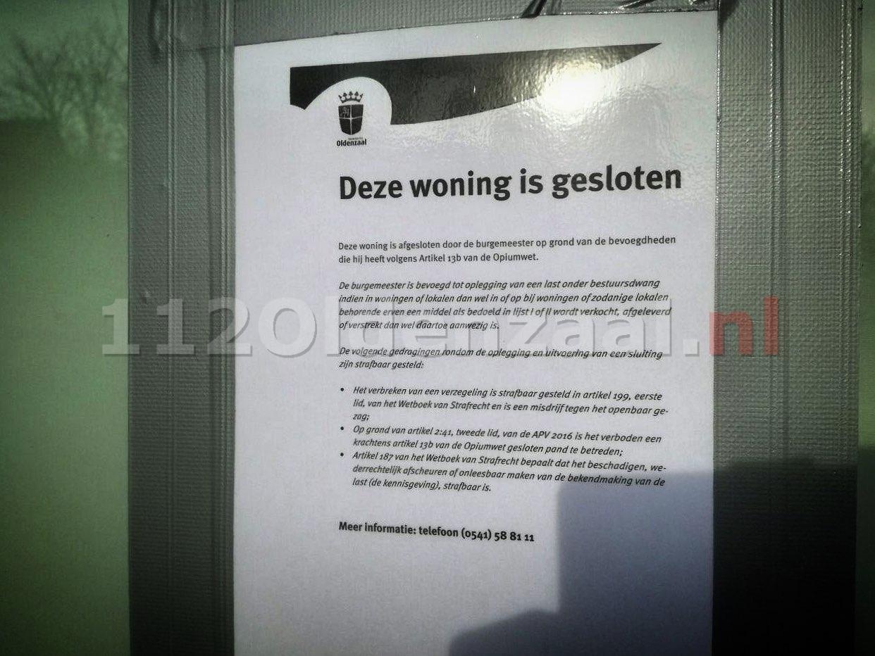 UPDATE: Burgermeester sluit woning na aantreffen hennepkwekerij in woning Oldenzaal