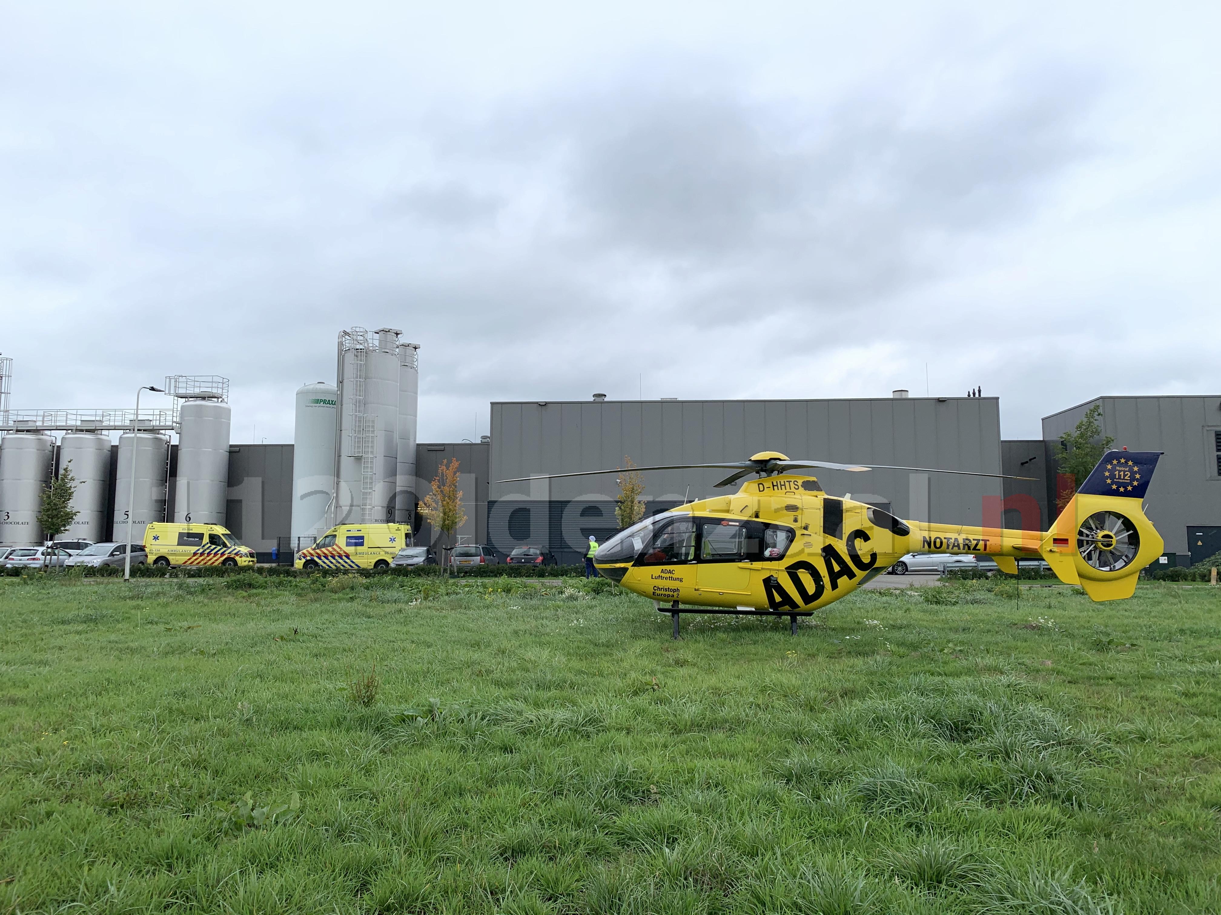 VIDEO: Bedrijfsongeval in Oldenzaal; traumahelikopter ingezet
