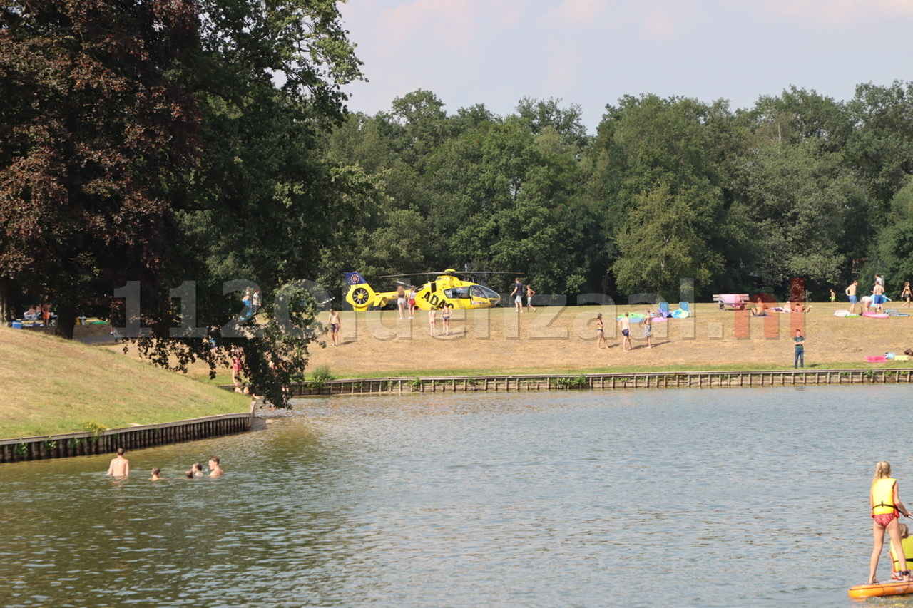 Traumahelikopter landt op het Hulsbeek