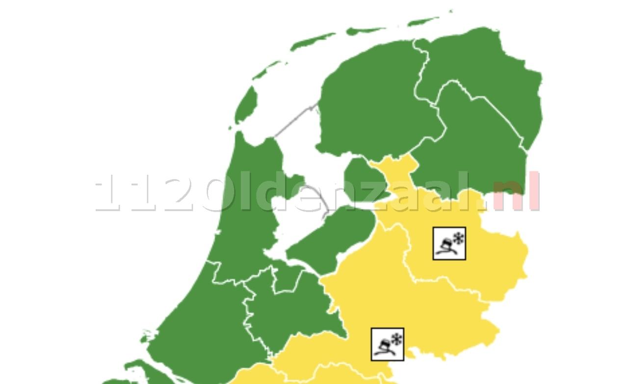 KNMI; Code geel, vannacht in het oosten van het land lokaal kans op gladheid